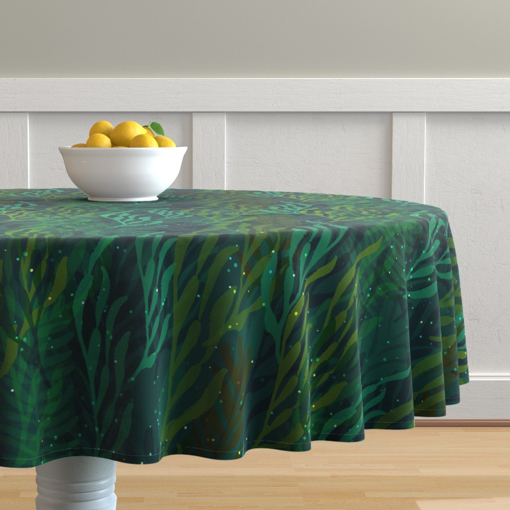 Malay Round Tablecloth featuring Underwater Emerald Forest by ceciliamok