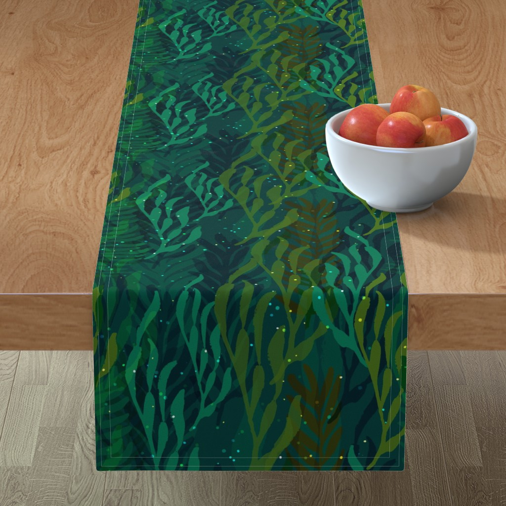 Minorca Table Runner featuring Underwater Emerald Forest by ceciliamok