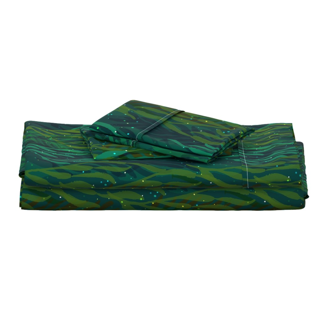Langshan Full Bed Set featuring Underwater Emerald Forest by ceciliamok