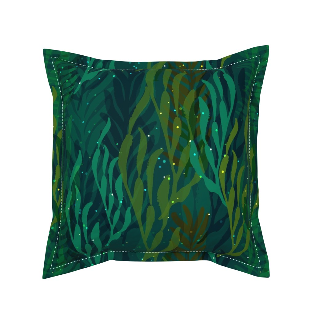 Serama Throw Pillow featuring Underwater Emerald Forest by ceciliamok