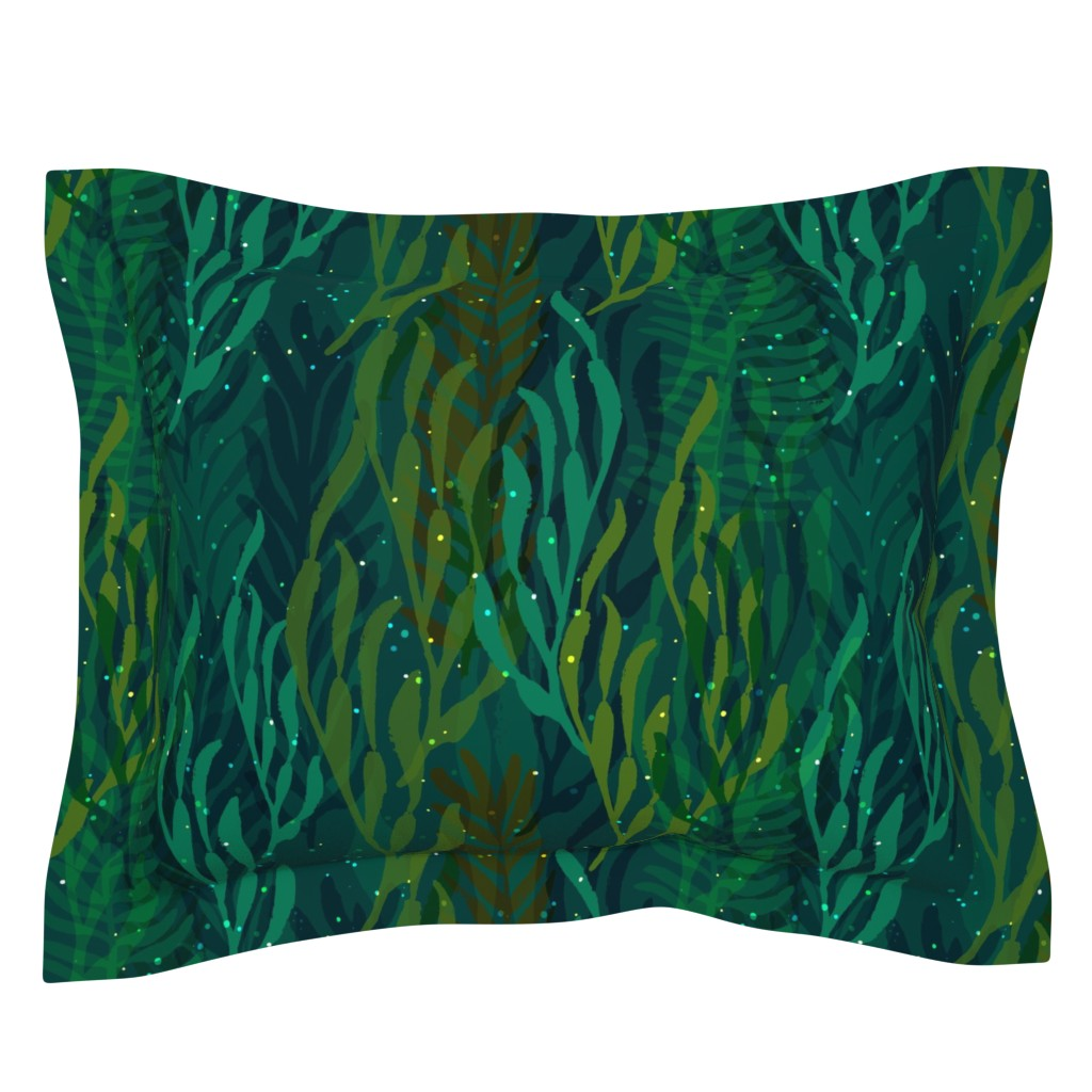 Sebright Pillow Sham featuring Underwater Emerald Forest by ceciliamok