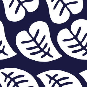 Retro leaf pattern - Blue