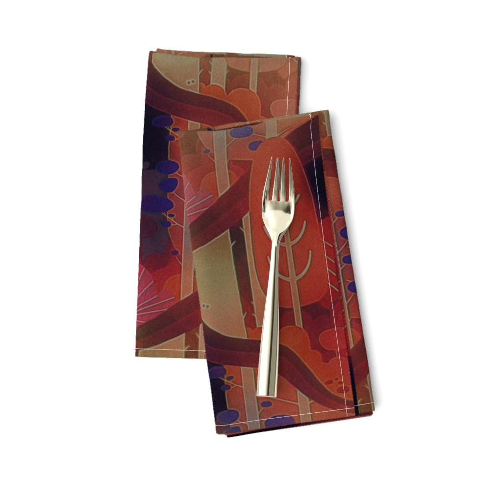 Amarela Dinner Napkins featuring autumn forest by dessineo