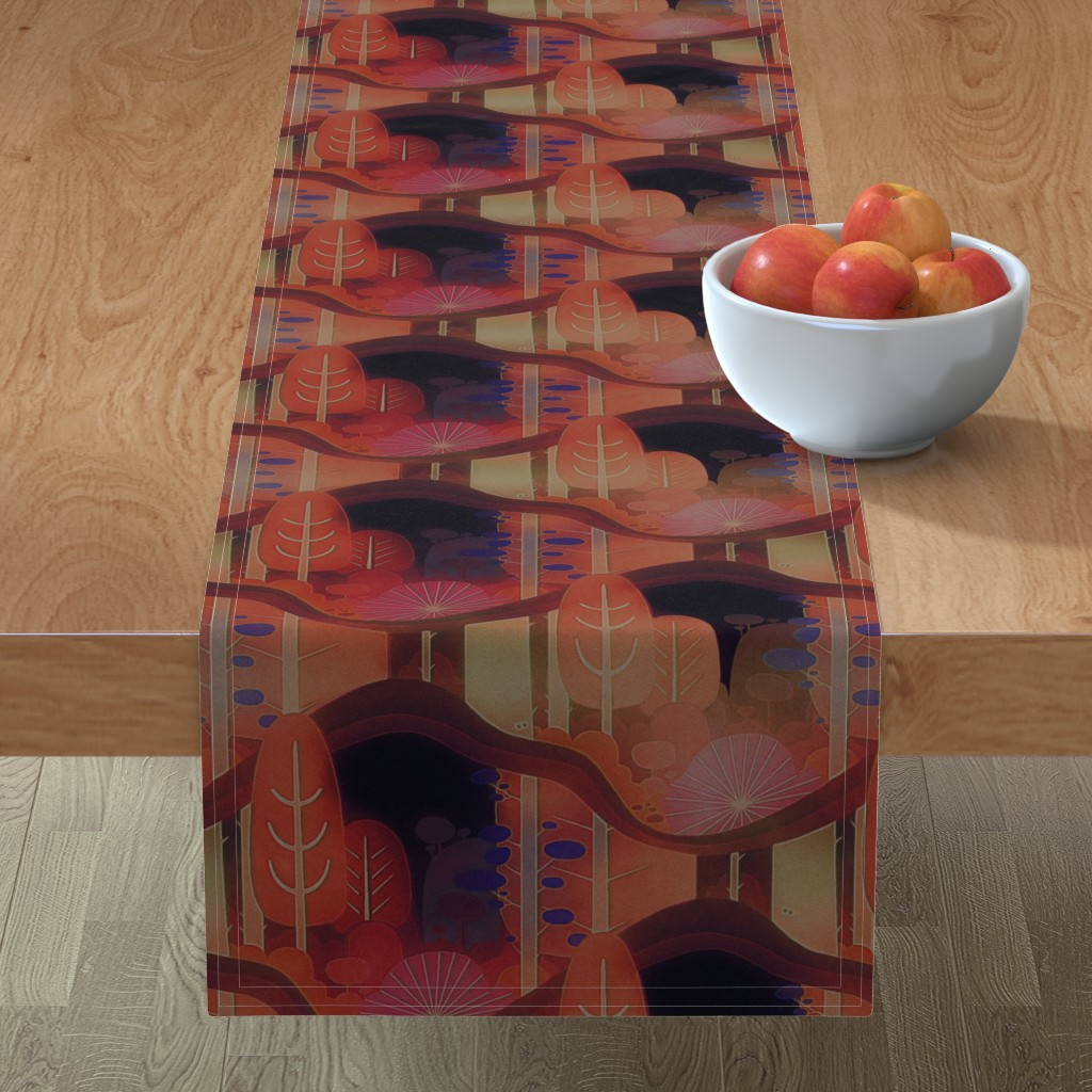 Minorca Table Runner featuring autumn forest by dessineo