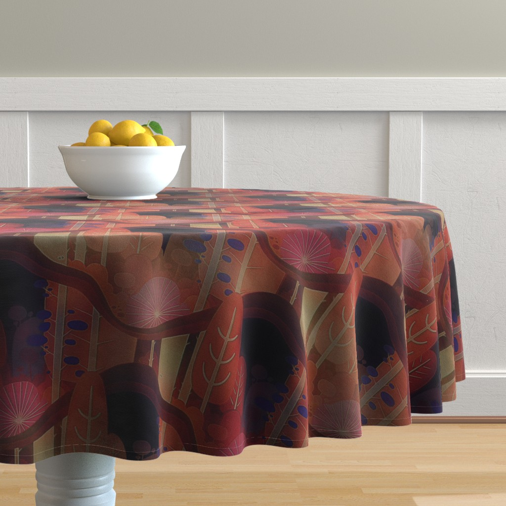 Malay Round Tablecloth featuring autumn forest by dessineo