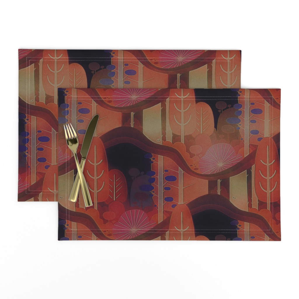 Lamona Cloth Placemats featuring autumn forest by dessineo