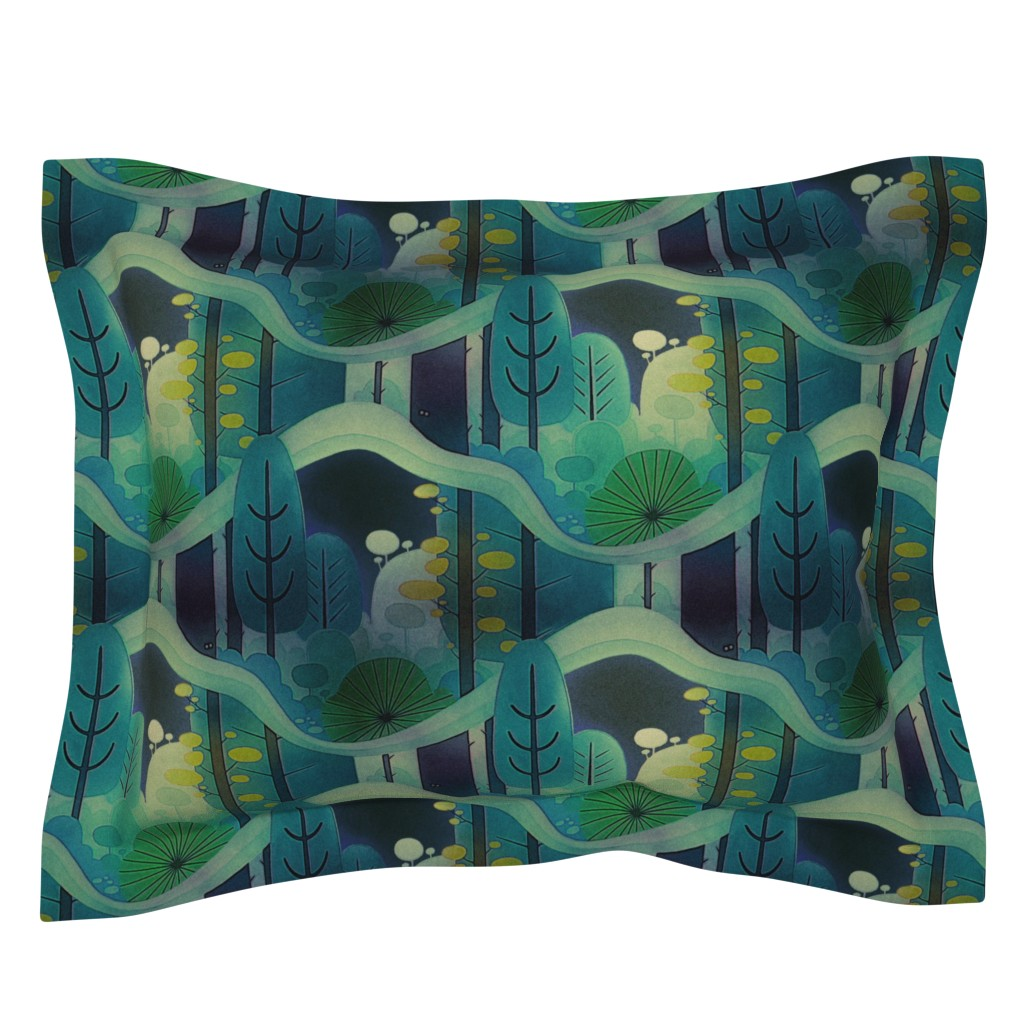 Sebright Pillow Sham featuring emerald forest by dessineo