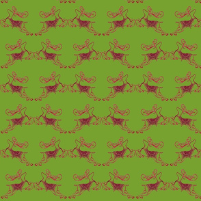 ReindeersFacing on Green