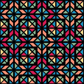 Colorful stained glass mosaic Fabric