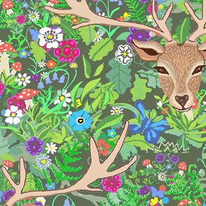Scandinavian forest // deer and rabbit Forest Floral with toadstools