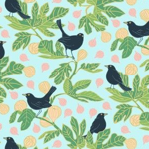 Blackbird on the Fig Tree Green Pink