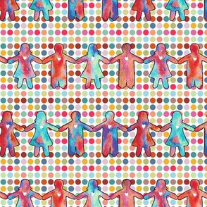 brothers and sisters with colorful dots