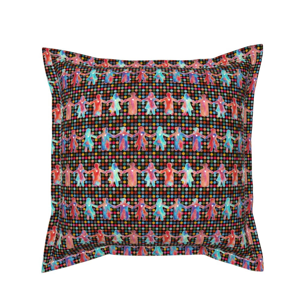 Serama Throw Pillow featuring brothers and sisters with dots on black by designed_by_debby