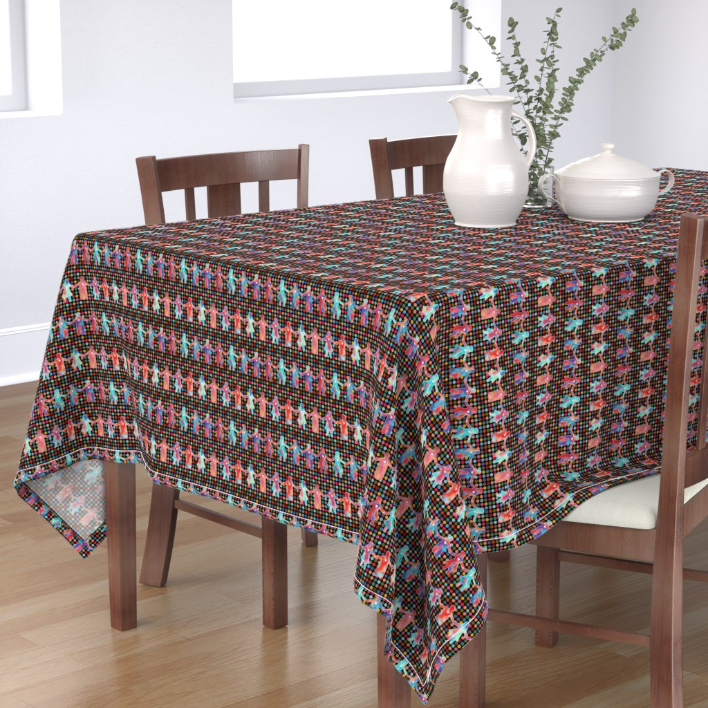 Bantam Rectangular Tablecloth featuring brothers and sisters with dots on black by designed_by_debby