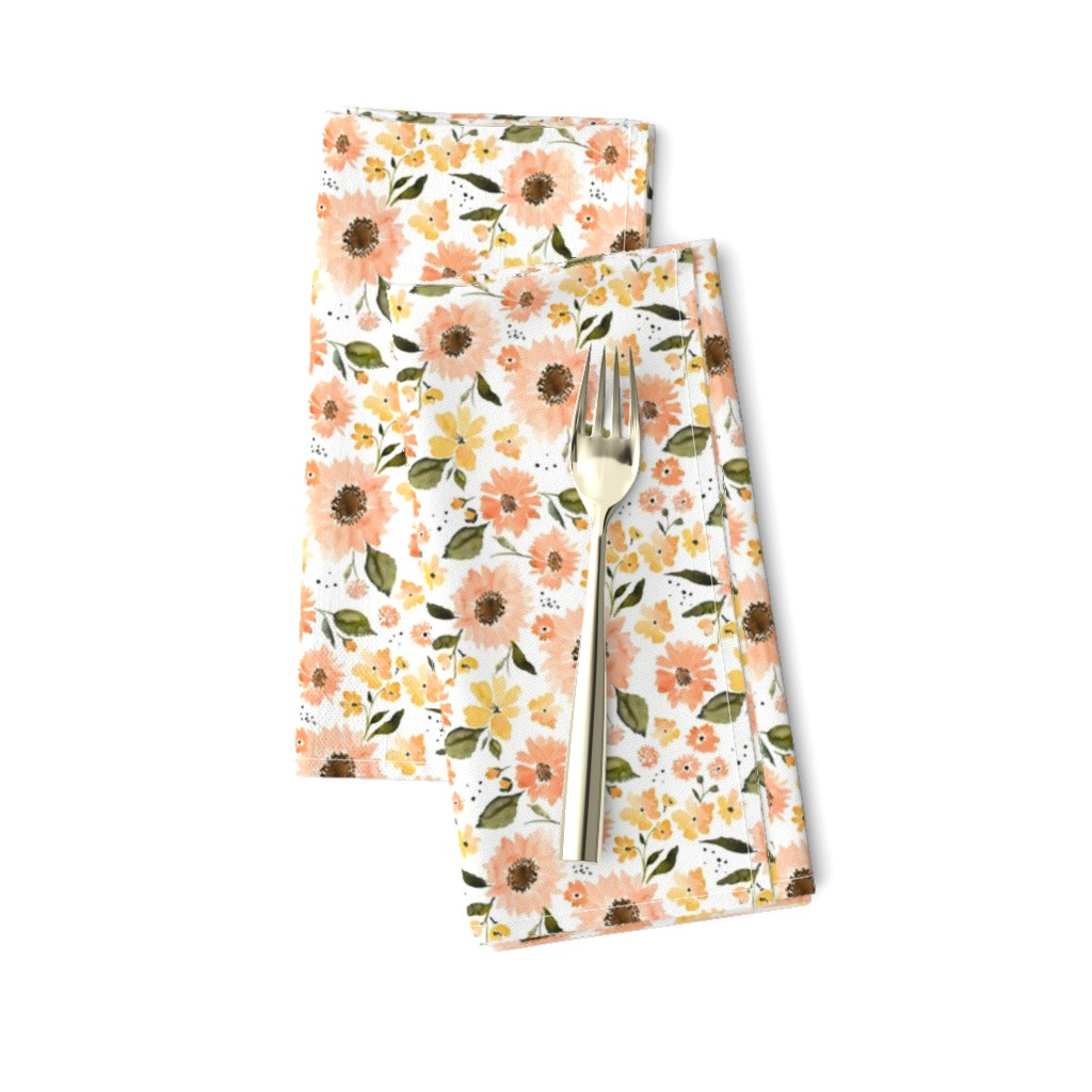 Amarela Dinner Napkins featuring IBD PEACHY SUNFLOWERS 4x4 by indybloomdesign