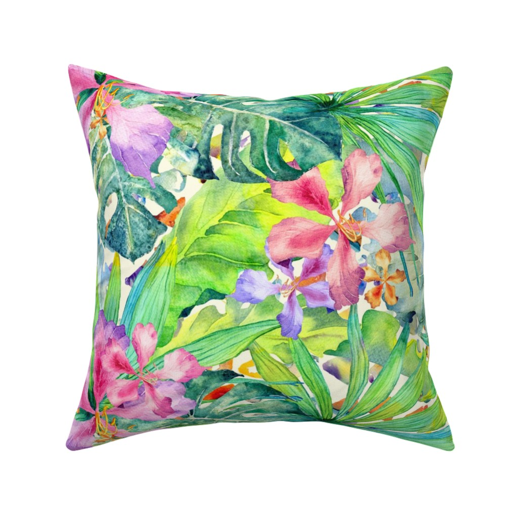 Catalan Throw Pillow featuring Emerald tropic forest by exotic_vector