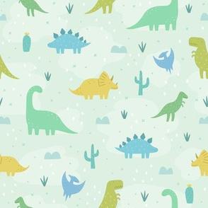Cute dinosaurs on green