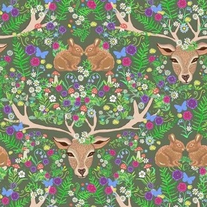 Deer with rabbits Forest  floral paradise with ferns
