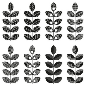 black geometric herbs with white doodle textures 1