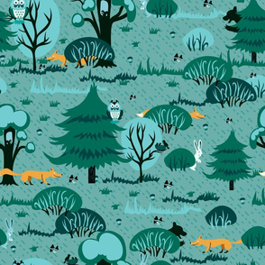 Emerald forest with foxes