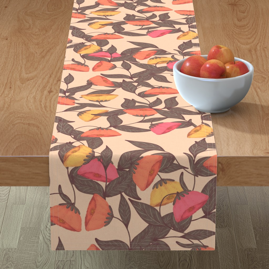 Minorca Table Runner featuring vintage California poppies by katrinkastem