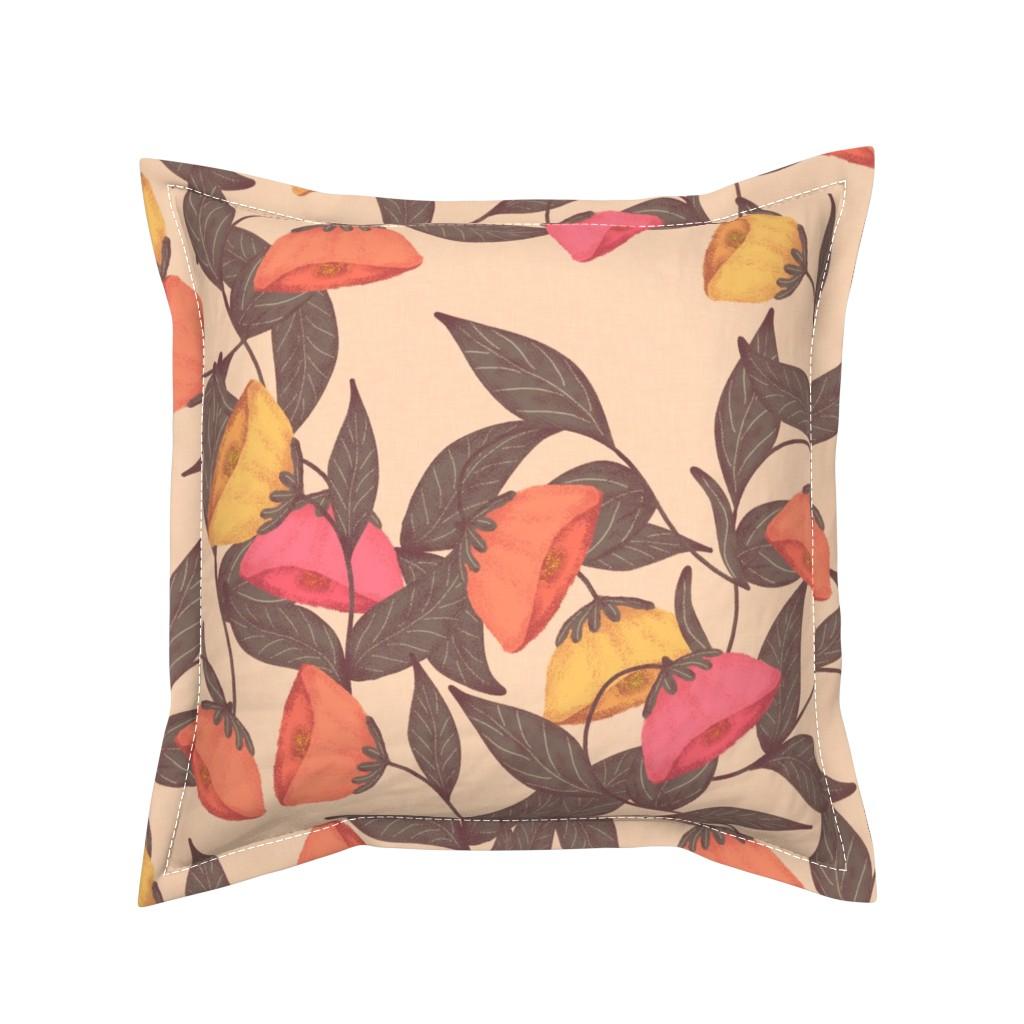 Serama Throw Pillow featuring vintage California poppies by katrinkastem