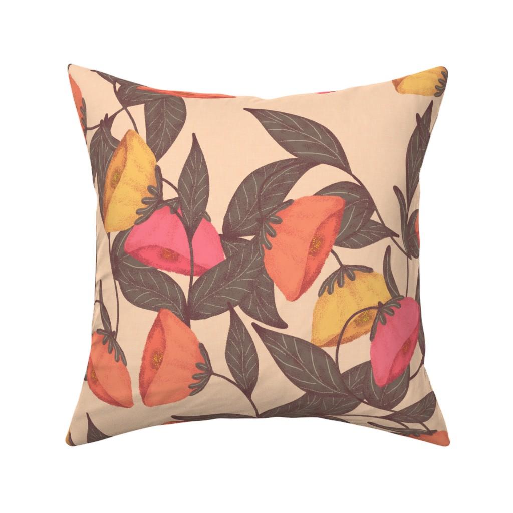 Catalan Throw Pillow featuring vintage California poppies by katrinkastem