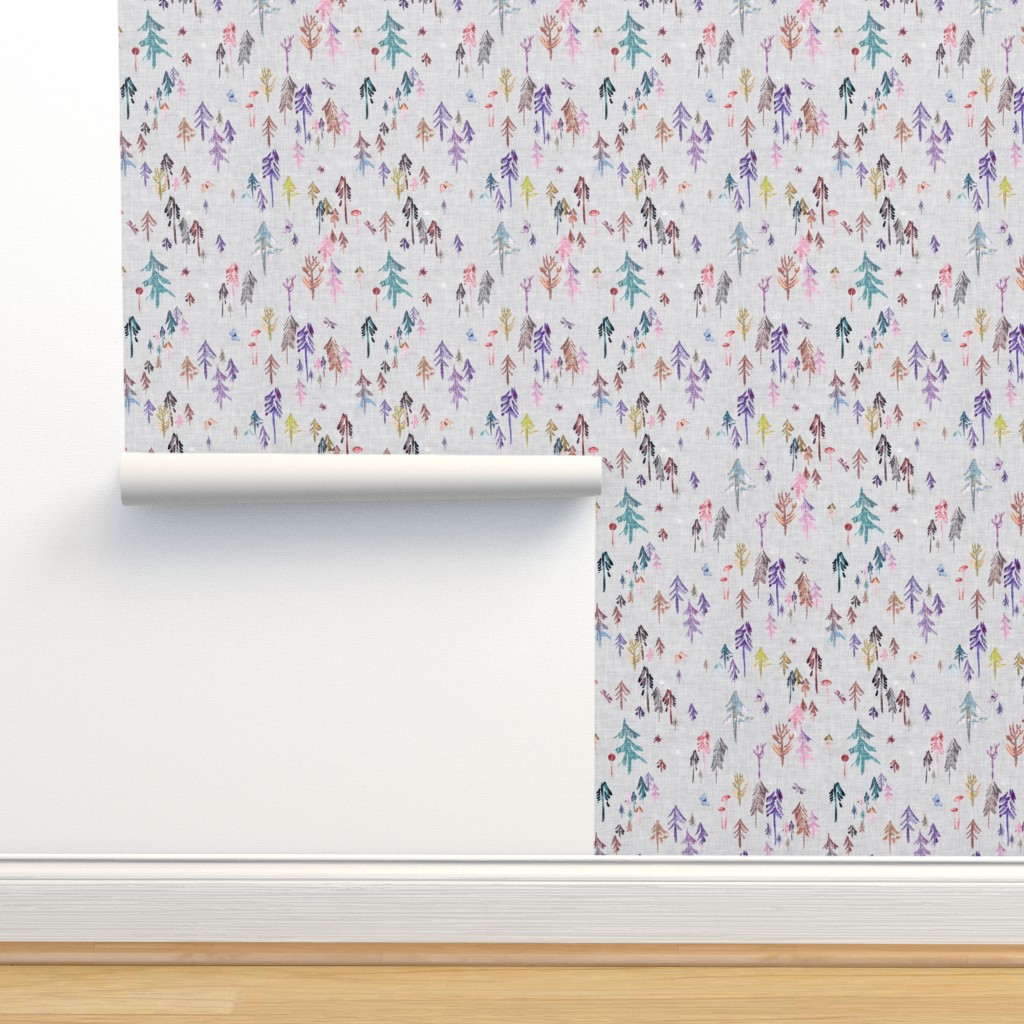 Isobar Durable Wallpaper featuring Pine Forest  (violet) MED by nouveau_bohemian