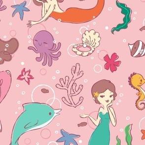 Mermaids Pattern - Larger Print