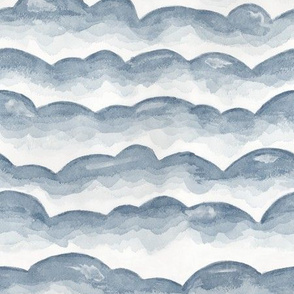 Watercolor Cloud Layers in Grey  // monochromatic watercolor cloud stripes ombre gradient layers baby grey neutral fabric