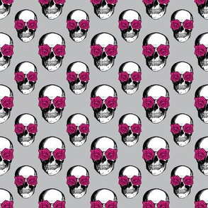 Skulls and Roses | Grey and Pink