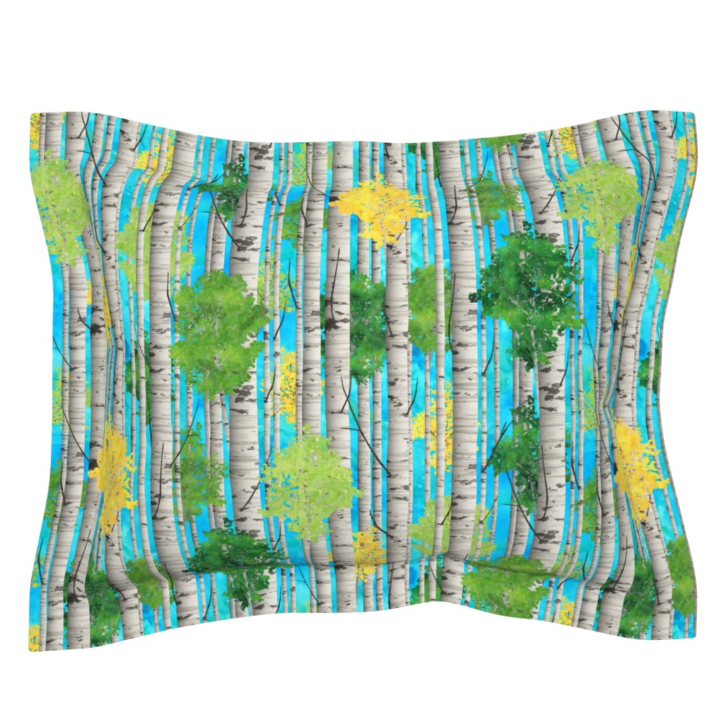 Sebright Pillow Sham featuring Watercolor Birch Trees by wickedrefined