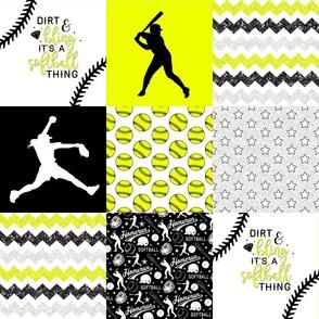 Softball - Dirt & Bling - Wholecloth Cheater Quilt
