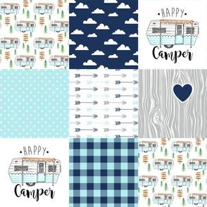 Happy Camper//Aqua - Wholecloth Cheater Quilt