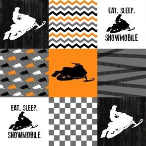 Eat Sleep Snowmobile//Orange - Wholecloth Cheater Quilt