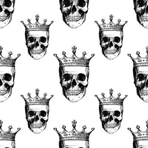 Skull and Crown   Black and White