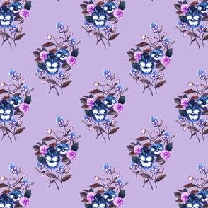 Pansy Dark Blue Plum on Lavender