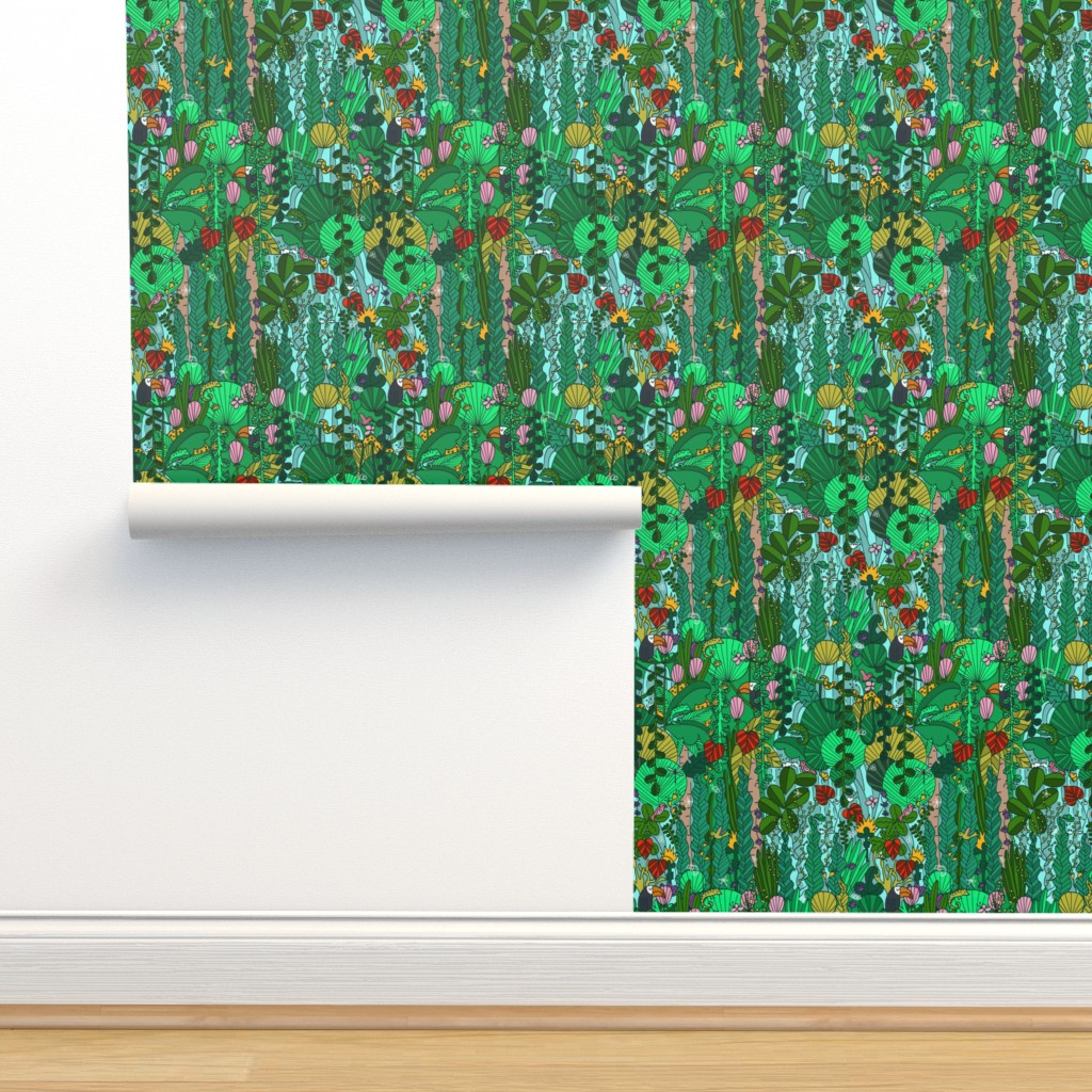 Isobar Durable Wallpaper featuring P #91 Tropical Emerald Forest  by irenesilvino