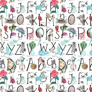 Alphabet ABC // Pink, blue, green, girls room nursery decor little girls fabric