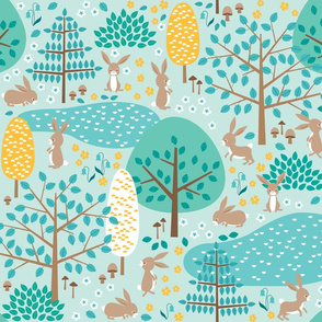 bunnies in the forest