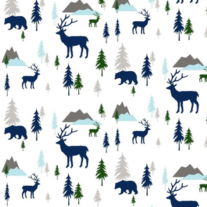bears and deer mountains mint blue 2