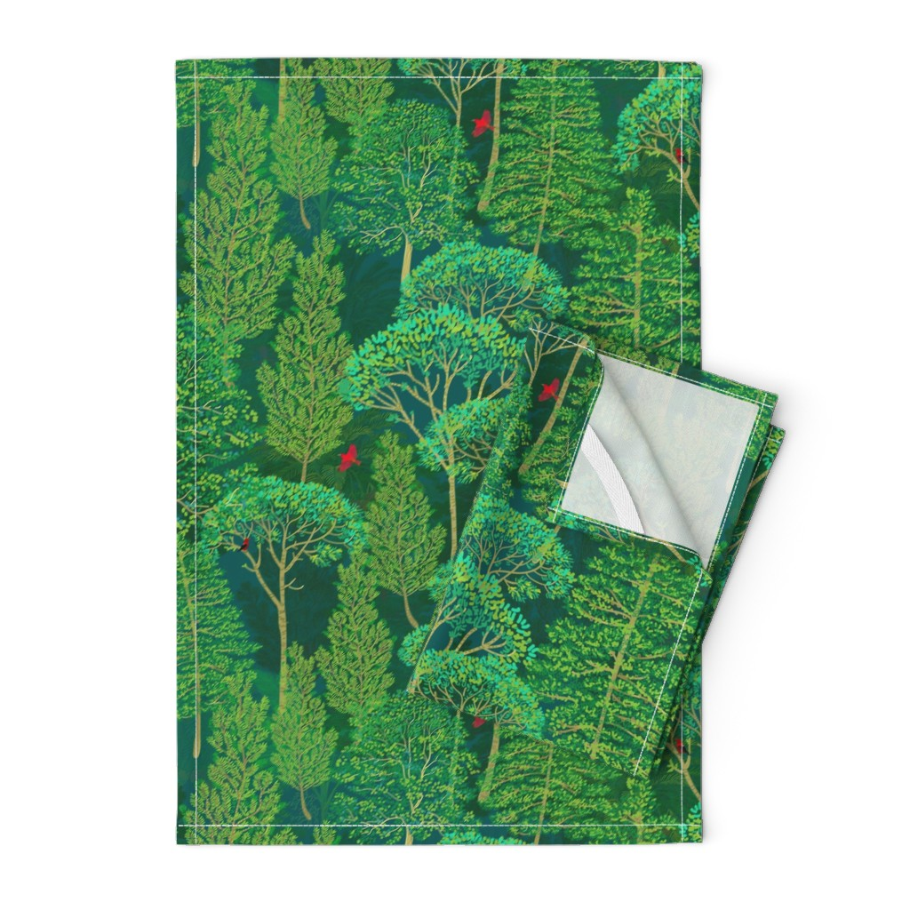 Orpington Tea Towels featuring Lost in a Good Book in an emerald forest by honoluludesign