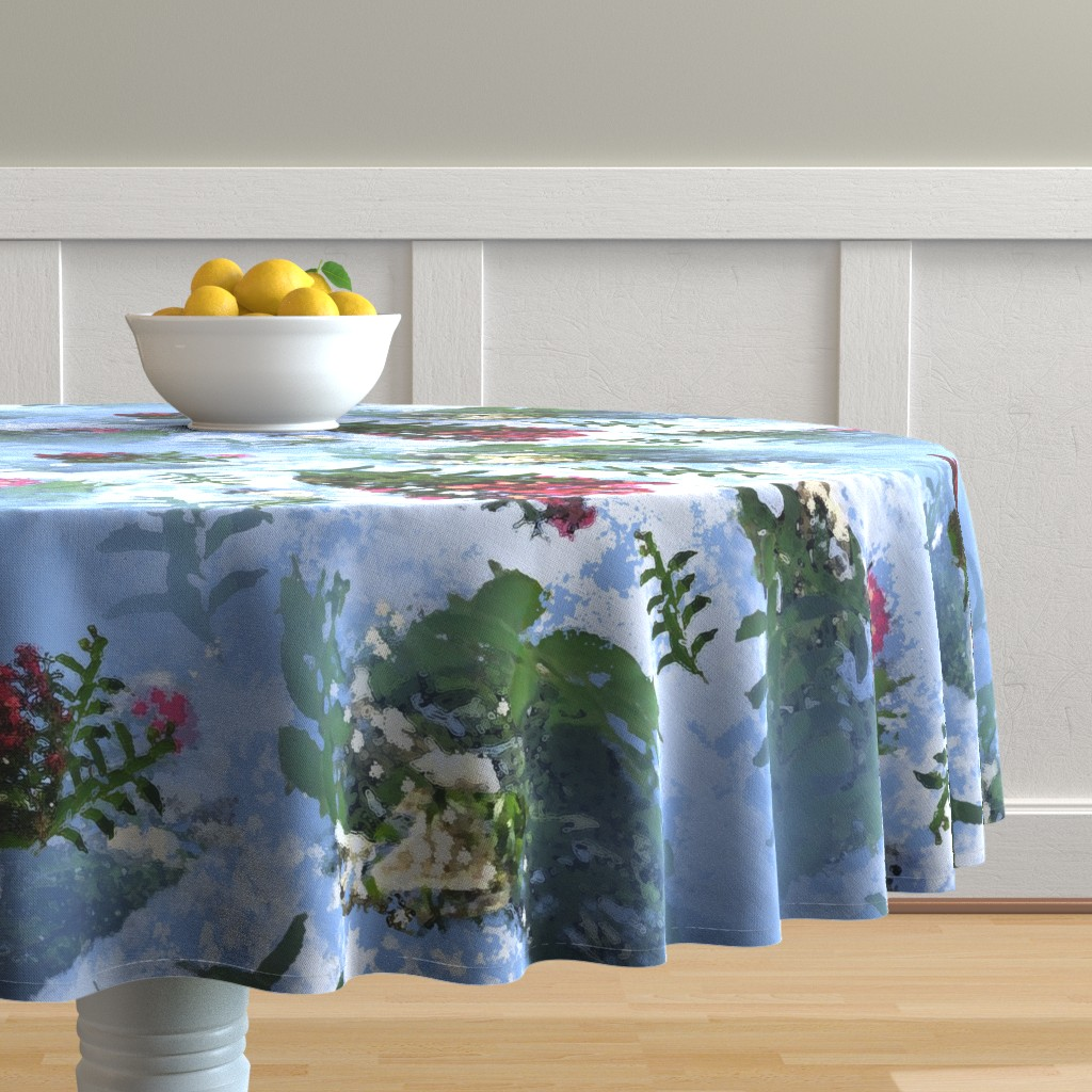 Malay Round Tablecloth featuring crape myrtles2 by lorloves_design