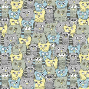 Funny gray owls