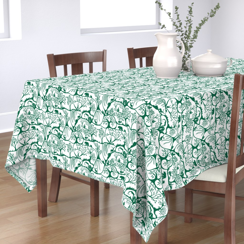 Bantam Rectangular Tablecloth featuring Emerald Forest by melanie_hodge