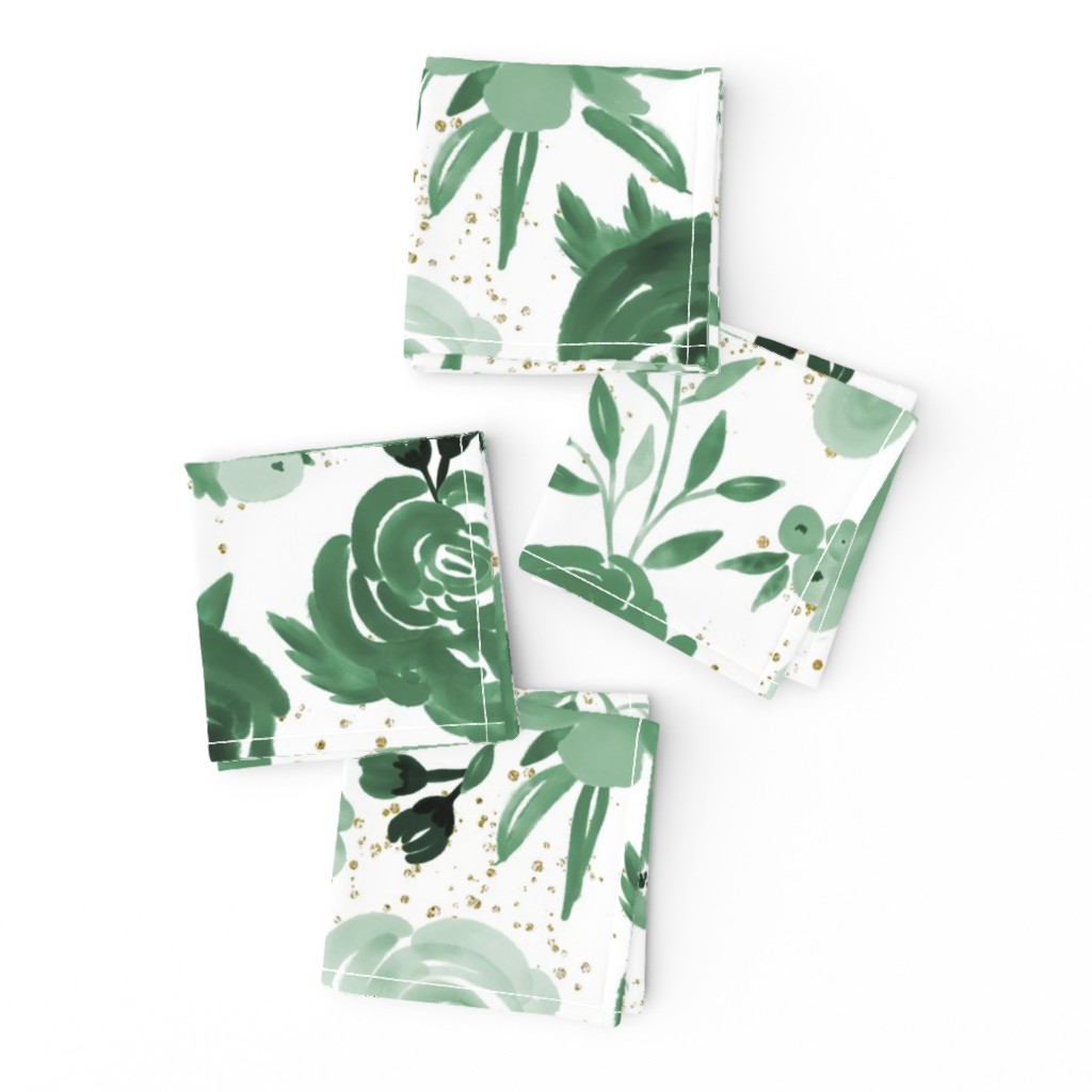 Frizzle Cocktail Napkins featuring Emerald Forest Floral w Gold Glitter - Monochrome Watercolor Flowers by sweeterthanhoney