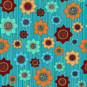 colorful flowers on blue