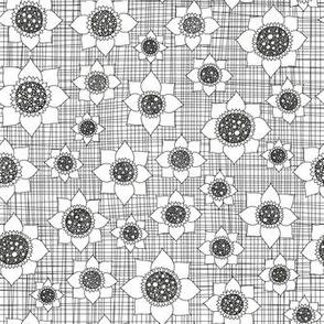flowers on grid