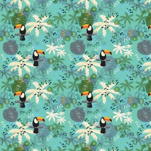 Toucan and Tropical Palm by Clarky Works