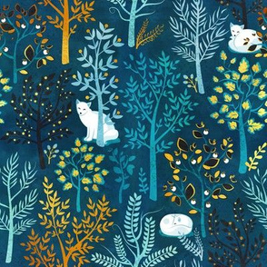 Small scale // White fox resting on a blue forrest